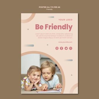 Seja amigável, modelo de impressão de panfleto