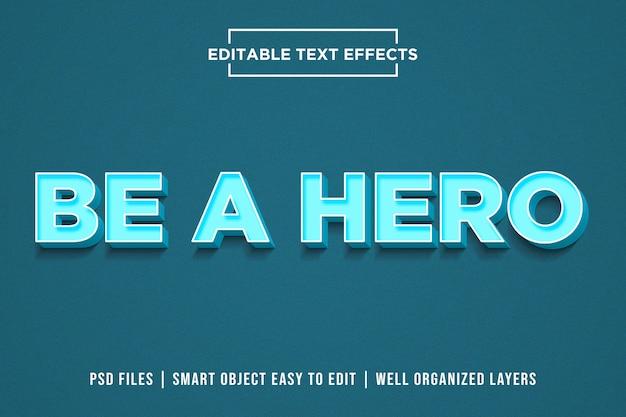 Seja um herói - efeitos modernos de estilo de texto azul