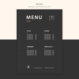 Seleção de menu de restaurante e ofertas