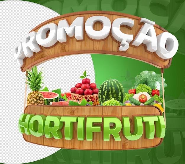 Selo 3d de promoção hortifruti para vendas de vegetais frutas e vegetais vendas a retalho e comércio