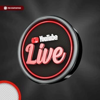 Selo 3d de streaming ao vivo do youtube isolado
