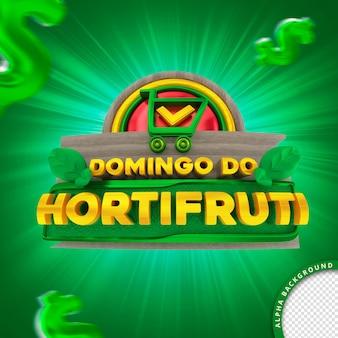 Selo 3d em português para composição domingo do supermercado de frutas e legumes