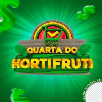 Selo 3d em português para composição quarta-feira do supermercado hortifruti de frutas vegetais