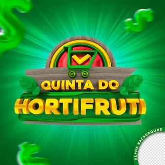 Selo 3d em português para composição quinta-feira do supermercado hortifruti de frutas legumes