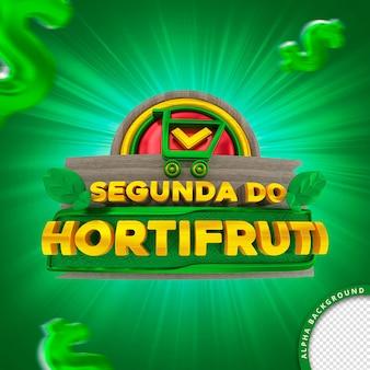 Selo 3d em português para composição segunda-feira do supermercado hortifruti de frutas e vegetais