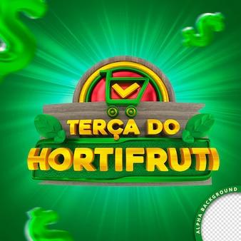 Selo 3d em português para composição terça-feira do supermercado hortifruti de frutas e vegetais