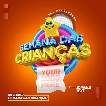 Selo 3d em português para promoções e ofertas de produtos de vendas de semana infantil de composição