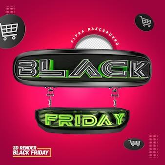 Selo 3d para vendas de composição de black friday e promoção de produtos