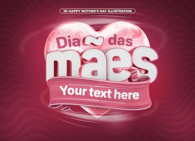 Selo 3d render para a celebração do feliz dia das mães