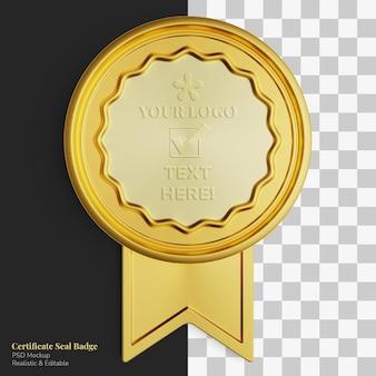 Selo de certificado de círculo dourado realista exclusivo de luxo