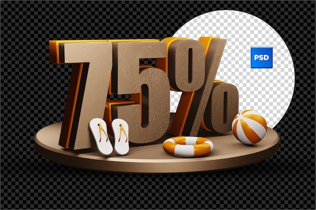 Selo de desconto de 75 por cento na venda de verão 3d isolado
