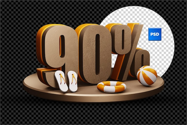 Selo de desconto de 90% na venda de verão 3d isolado