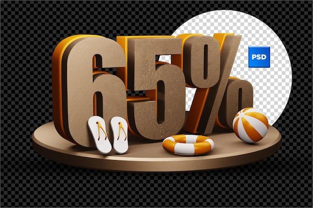 Selo de desconto de venda de verão 3d de 65% isolado