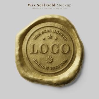 Selo de documento autêntico de luxo redondo selo de cera de ouro maquete de logotipo realista