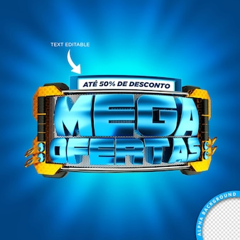 Selo de mega oferta 3d no brasil