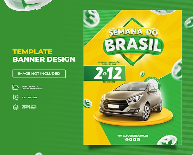 Semana brasileira banner vertical campanha promocional verde no brasil template premium psd set 01