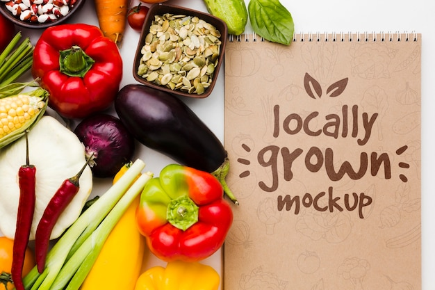 Sementes e maquete de vegetais cultivados localmente