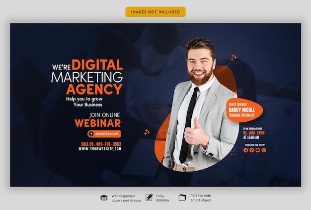 Seminário on-line ao vivo de marketing digital e modelo de banner da web corporativo