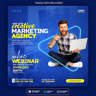 Seminário on-line ao vivo de marketing digital e modelo de postagem em mídia social corporativa