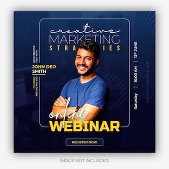 Seminário on-line ao vivo de marketing digital e modelo de postagem em mídia social corporativa Psd grátis