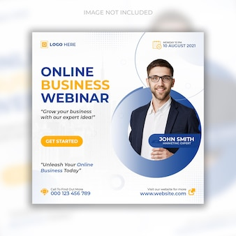 Seminário on-line ao vivo de marketing digital e postagem em mídia social corporativa