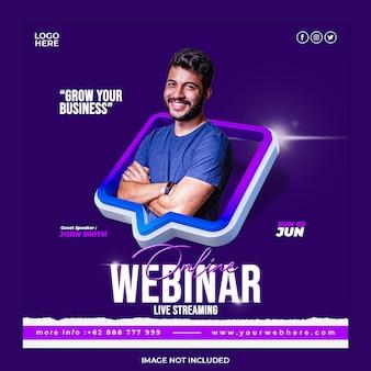 Seminário on-line ao vivo, marketing digital e modelo de postagem em mídia social corporativa