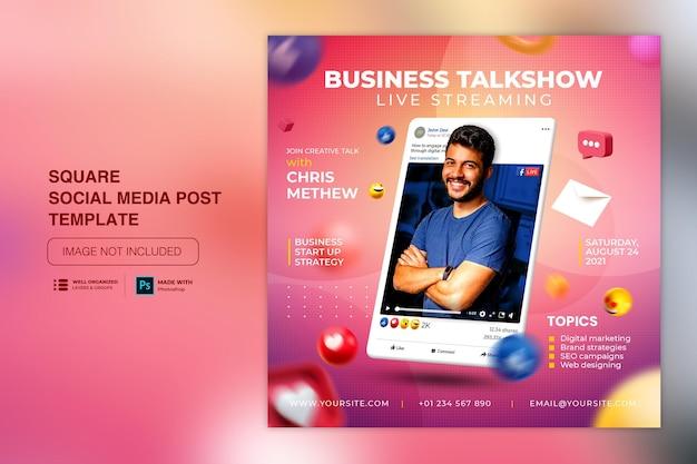 Seminário on-line com transmissão ao vivo no instagram post modelo de postagem em mídia social