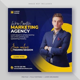 Seminário on-line para agência de marketing digital ou modelo de postagem em mídia social corporativa