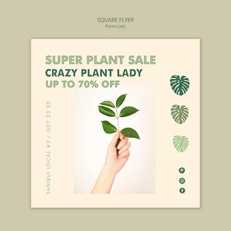 Senhora da planta panfleto quadrado