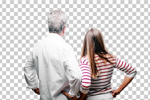 Senior cool marido e esposa vista traseira