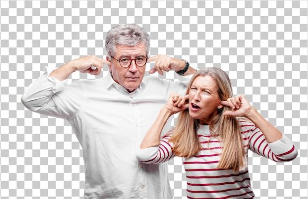 Senior legal marido e mulher com as duas mãos cobrindo as orelhas