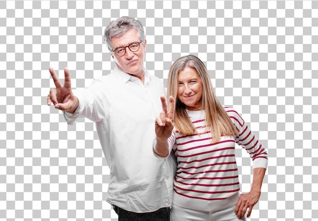 Senior legal marido e mulher com uma expressão orgulhosa, feliz e confiante