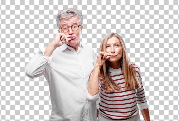 Senior legal marido e mulher gesticulando