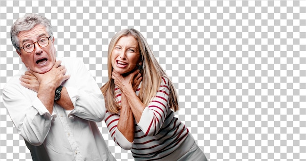 Senior legal marido e mulher gritando, olhando surpreso