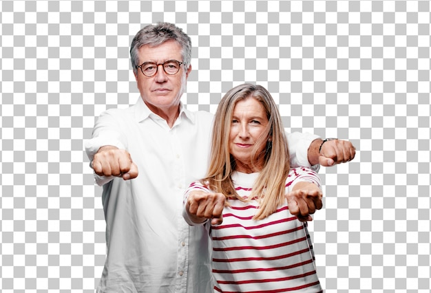 Senior legal marido e mulher olhando orgulhoso, confiante e poderoso