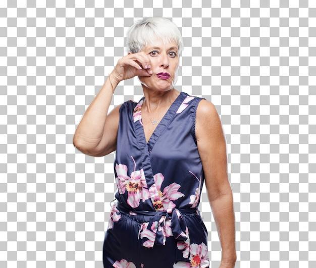 Senior legal mulher gesticulando