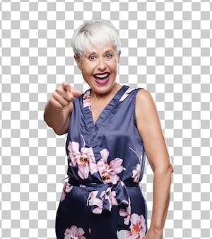 Senior legal mulher rindo muito