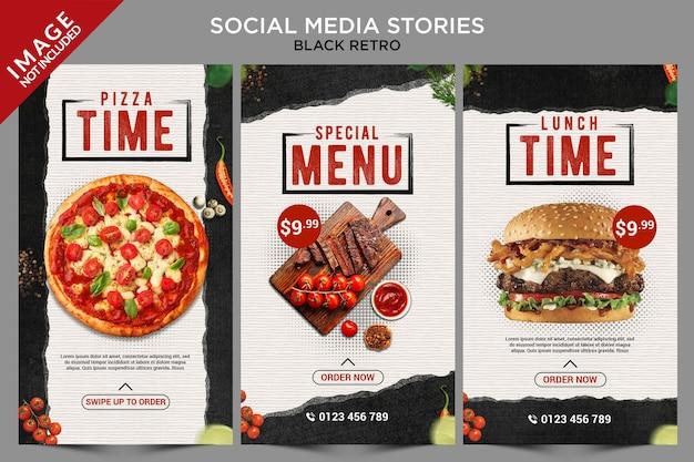Série black retro de histórias de mídia social