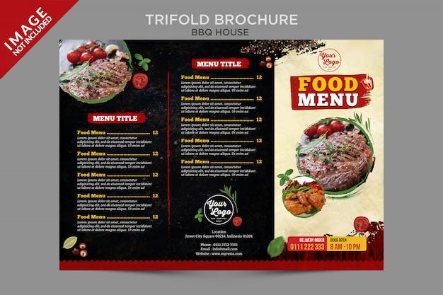 Série de brochuras com menu de comida para churrasco