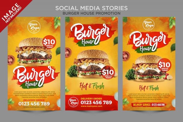 Série de histórias de mídia social da burger house