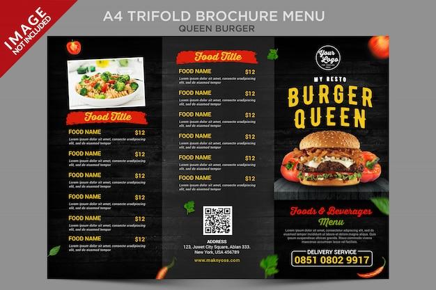 Série de menu de brochura com três dobras em estilo vintage queen burger