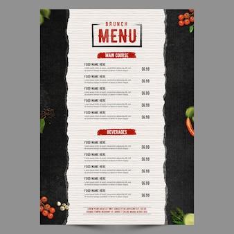 Série de menu de pôster retro preto