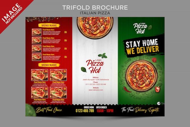 Série de modelos com três dobras de pizza italiana