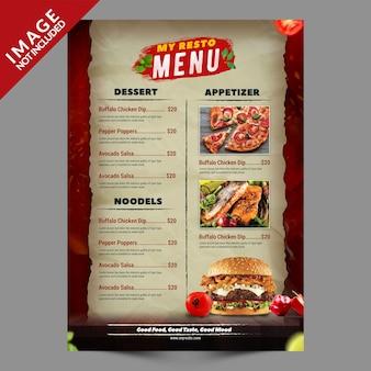 Série de modelos de promoção de cardápio de hambúrguer