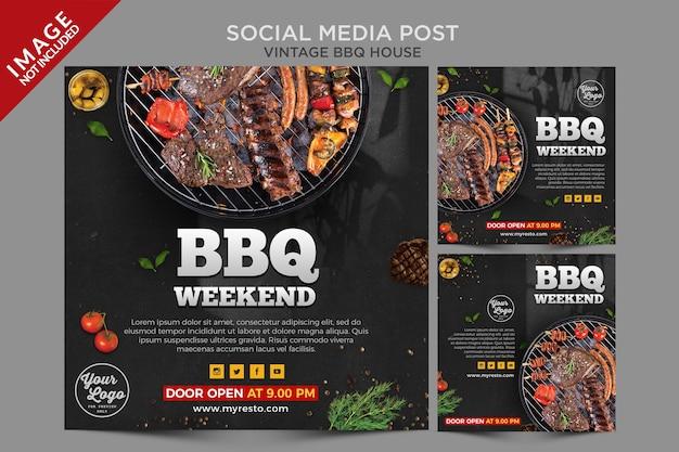 Série de publicações em mídias sociais vintage para churrasco