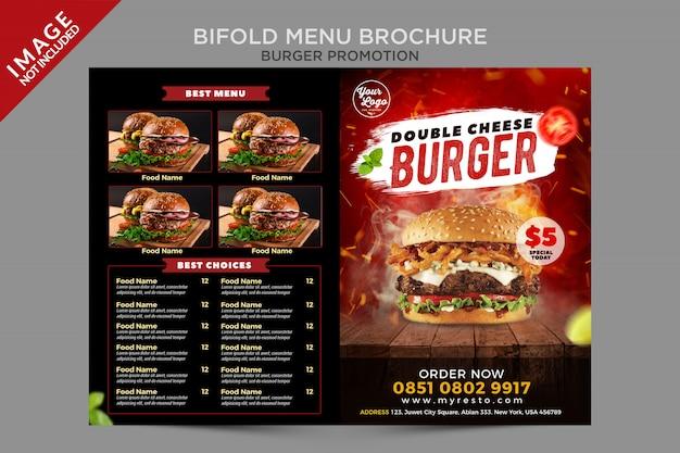 Série promocional de hambúrguer com queijo duplo com menu bifold