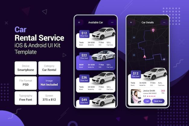 Serviço de aluguel de carros e aplicativos móveis para reservas de carros