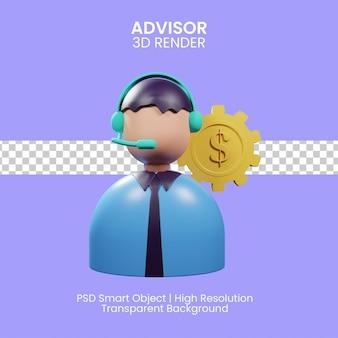 Serviço de consultoria, assessoria financeira, suporte especializado. ilustração 3d
