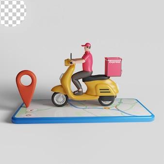 Serviço de entrega com conceito de scooter e smartphone