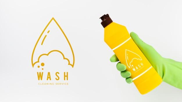 Serviço de limpeza de lavagem e recipiente de detergente